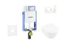 Geberit Kombifix Modul pro závěsné WC s tlačítkem Sigma20, bílá/lesklý chrom + Villeroy Boch - WC a sedátko, DirectFlush, SoftClose, CeramicPlus