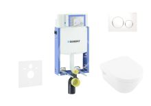 Geberit Kombifix Sada pro závěsné WC + klozet a sedátko softclose Villeroy & Boch - sada s tlačítkem Sigma20, bílá/lesklý chrom/bílá