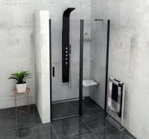 Polysan ZOOM LINE BLACK sprchové dveře s pevným segmentem, čiré sklo