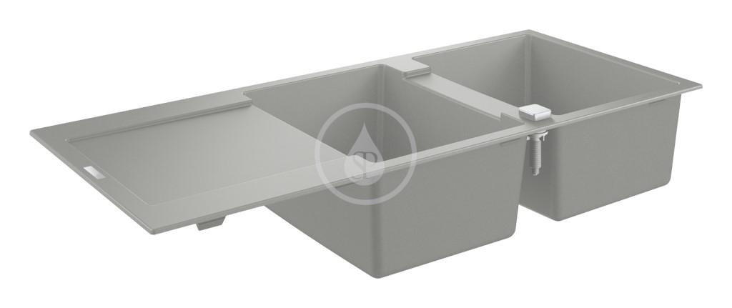 Grohe Dřezy Kompozitní dřez K500 s automatickým odtokem, 1160x500 mm, granitová černá