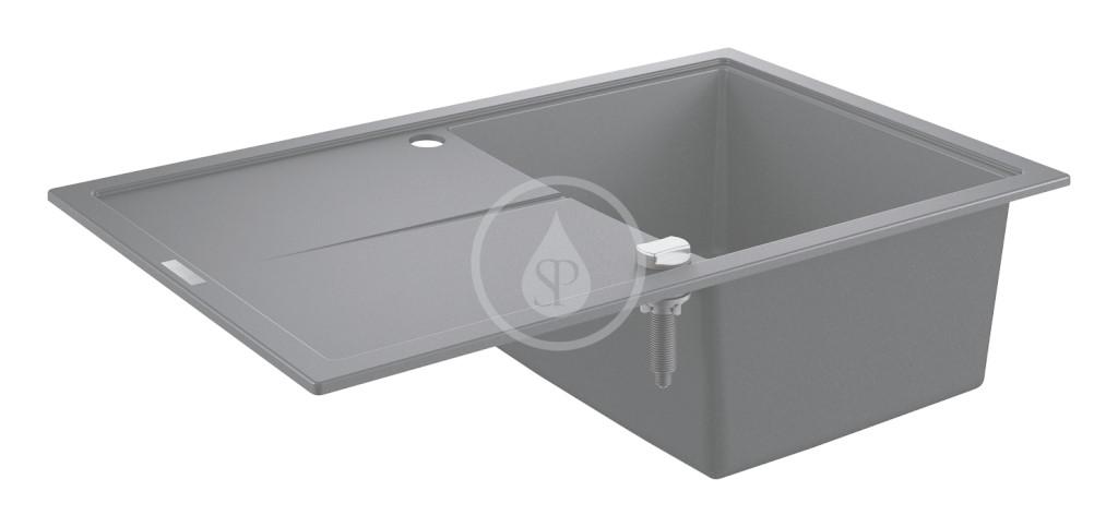 Grohe Dřezy Kompozitní dřez K400 s automatickým odtokem, 780x500 mm, granitová černá