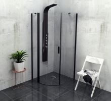 Polysan ZOOM LINE BLACK čtvrtkruhová sprchová zástěna 900x900mm, čiré sklo, levá