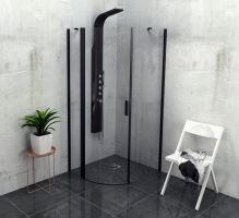 Polysan ZOOM LINE BLACK čtvrtkruhová sprchová zástěna, čiré sklo