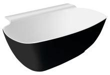 NIGRA volně stojící vana litý mramor 158x82x60cm, černá/bílá