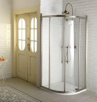 Gelco ANTIQUE čtvrtkruh. zástěna, posuvné dveře dvoukřídlé, čiré sklo, bronz