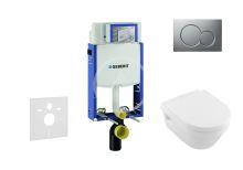 Geberit Kombifix Modul pro závěsné WC s tlačítkem Sigma01, matný chrom + Villeroy Boch - WC a sedátko, DirectFlush, SoftClose, CeramicPlus