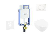 Geberit Kombifix Modul pro závěsné WC s tlačítkem Sigma01, alpská bílá + Villeroy Boch - WC a sedátko, DirectFlush, SoftClose, CeramicPlus