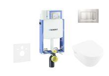 Geberit Kombifix Modul pro závěsné WC s tlačítkem Sigma30, matný chrom/chrom + Villeroy Boch - WC a sedátko, DirectFlush, SoftClose, CeramicPlus