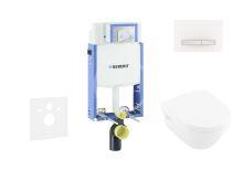 Geberit Kombifix Modul pro závěsné WC s tlačítkem Sigma50, alpská bílá + Villeroy Boch - WC a sedátko, DirectFlush, SoftClose, CeramicPlus