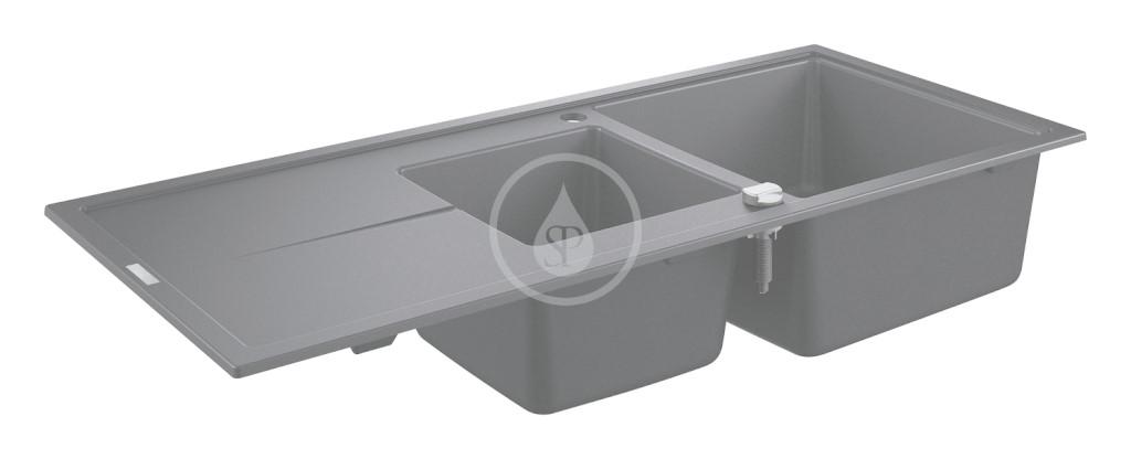 Grohe Dřezy Kompozitní dřez K400 s automatickým odtokem, 1160x500 mm, granitová černá