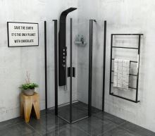Polysan ZOOM LINE BLACK čtvercová sprchová zástěna 900x900mm, čiré sklo