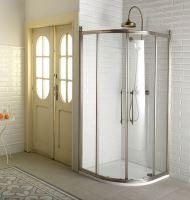 Gelco ANTIQUE čtvrtkruh. zástěna 900x900, posuvné dveře dvoukřídlé, čiré sklo, bronz