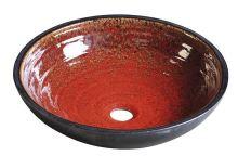 Sapho ATTILA keramické umyvadlo, průměr 42,5 cm, tomatová červeň/petrolejová