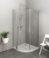 Polysan ZOOM LINE čtvrtkruhová sprchová zástěna, čiré sklo, levá