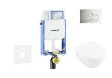 Geberit Kombifix Modul pro závěsné WC s tlačítkem Sigma01, lesklý chrom + Villeroy Boch - WC a sedátko, DirectFlush, SoftClose, CeramicPlus